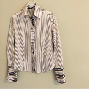 Burberry London French Cuff Striped Top Small